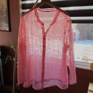 Pink lace vintage blouse / cover-up, no tags, EUC